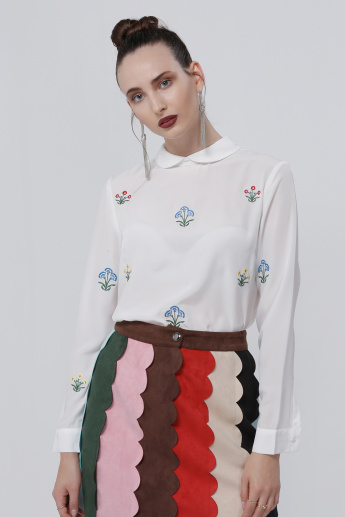 Embroidered Long Sleeves Top with Peter Pan Collar