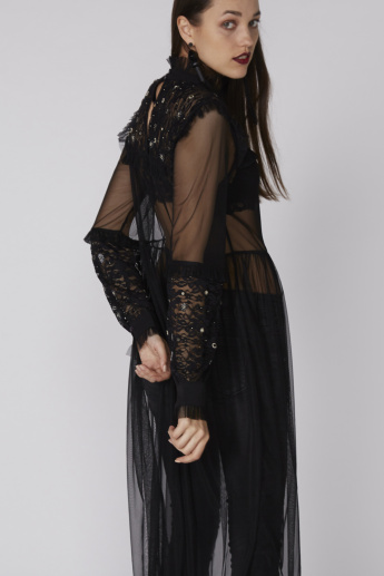 Embellished Maxi Dress with Long Sleeves and Lace Detail without Lining