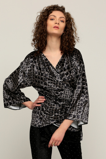 Printed Wrap Top with Long Sleeves