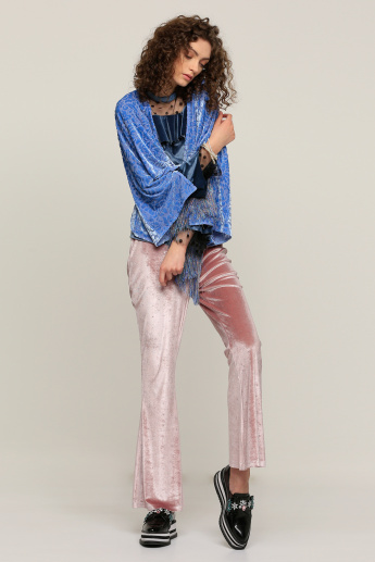 Embellished Full Length Pants with Elasticised Waistband