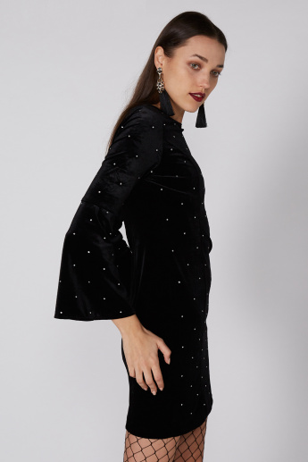 Embellished Mini Dress with Flared Sleeves