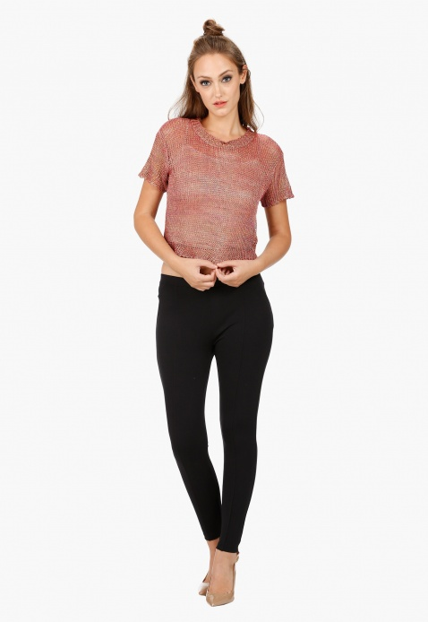 Crew Neck Crop Top with Short Sleeves in Regular Fit
