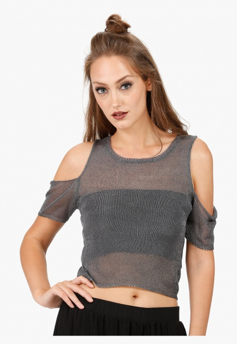 4616322226f Cut-Out Shoulder Top with Round Neck in Regular Fit | Shirts ...