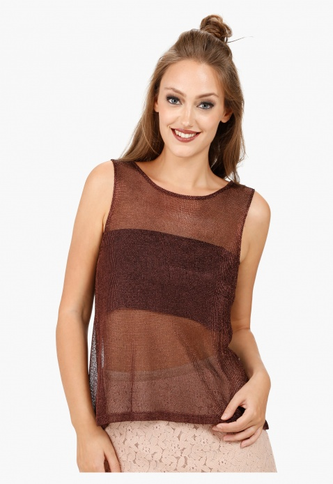 Sleeveless Wrap Back Top with Round Neck in Regular Fit