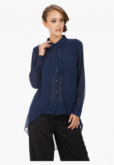 High-Low Shirt with Collar and Long Sleeves