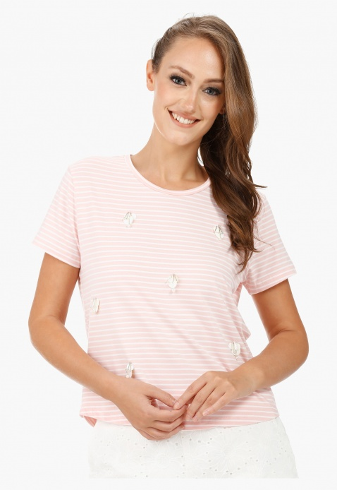 Striped T-shirt with Beaded Embellishment and Round Neck