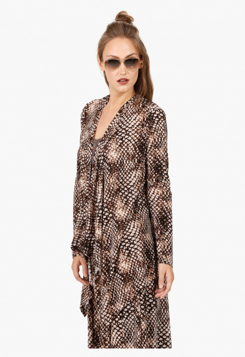Printed Waterfall Jacket with Long sleeves in Regular Fit
