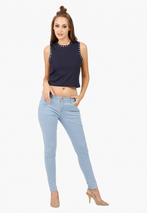 Sleeveless Crop Top With Riveting in Regular Fit