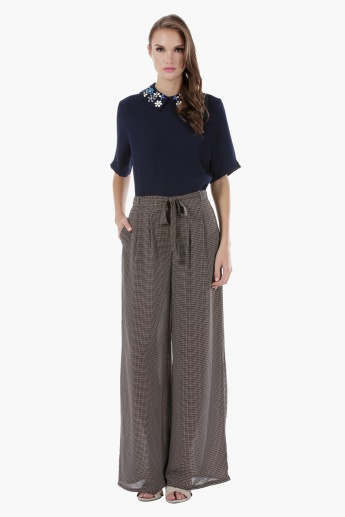 Printed Palazzo Pants with Tie Up Belt Detail