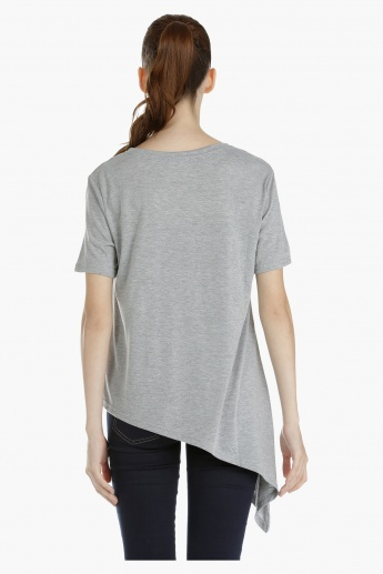 Asymmetrical T-shirt with Short Sleeves