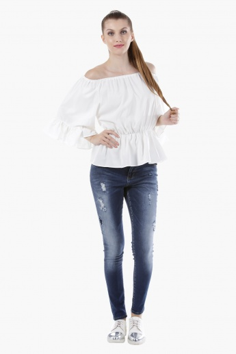 Boho Top with Oversized Sleeves in Regular Fit