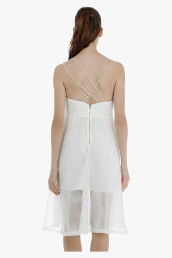 Mesh Dress with Cross Back Detail