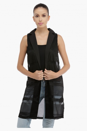 Sleeveless Jacket with Mesh Panel