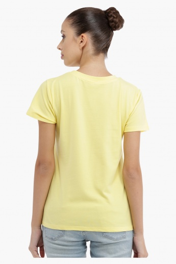 Embroidered T-shirt with Short Sleeves