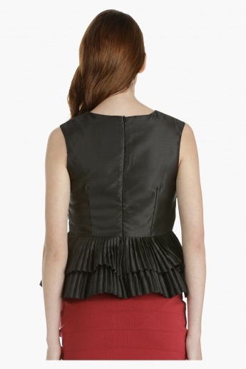 Peplum Top with Pleated Hem