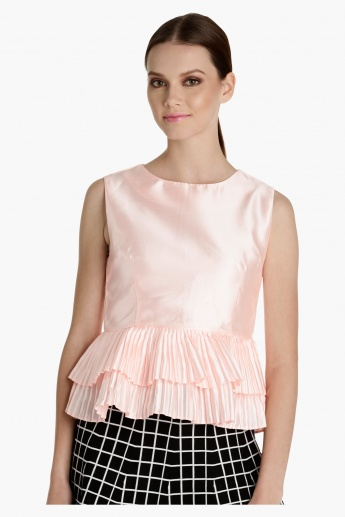 Sleeveless Top with Pleated Hem