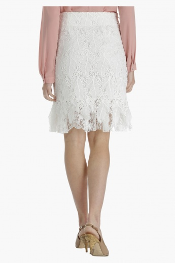 Textured Skirt with Lace Hem