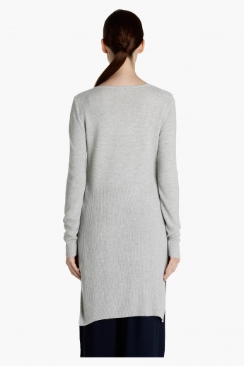 Ribbed Long Sweater with Side Slits