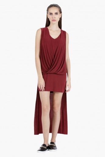 High-Low Wrap Bodycon Dress in Regular Fit