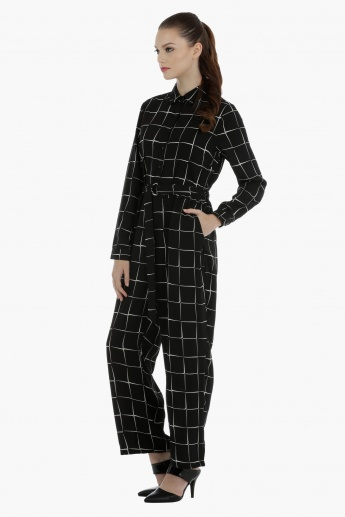 Full Length Chequered Jumpsuit