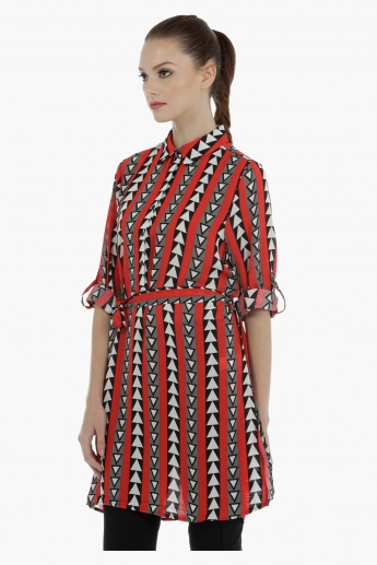 Geometric Print Long Shirt with Roll Up Sleeves and Tabs