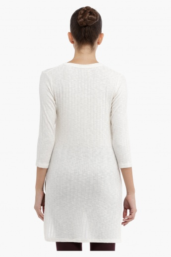 Knitted Sweater with Side Slits and High Low Hem