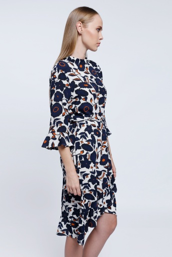 2Xtremz Floral Print Long Dress with 3/4 Sleeves
