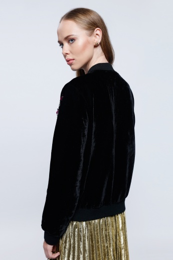 2Xtremz Embroidered Velour Blouson Jacket with Zip Closure and Long Sleeves