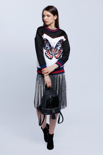 Sweatshirt with Butterfly Embroidery Patch and Studs