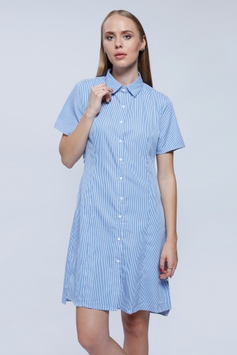 2Xtremz Shirt Dress with Twist Back Detail and Short Sleeves