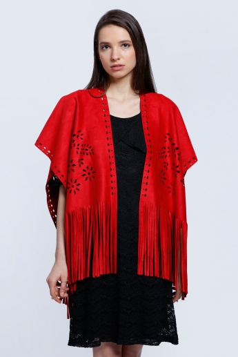 Laser Cut Detailed Suede Shrug With Tassels