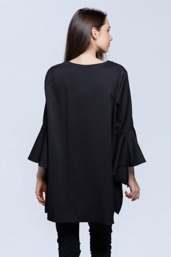deb6281a067561 Side Slit Tunic Top | Black