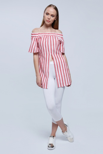 2Xtremz Striped Off Shoulder Top with Slits