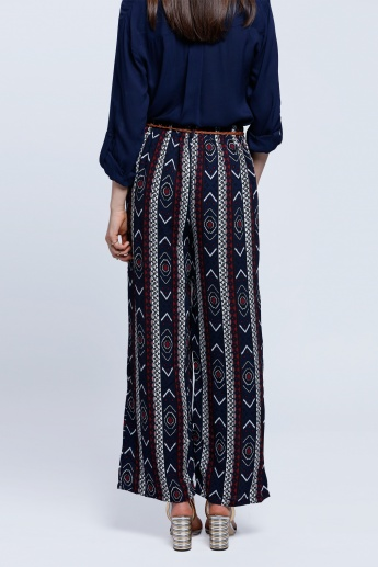 Printed Palazzo Pants with Belt