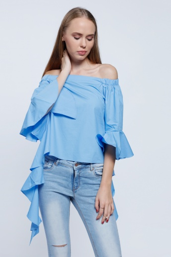 2Xtremz Poplin Top with Cascade Sleeves