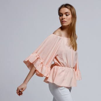 2Xtremz Ruffle Sleeves Off Shoulder Top