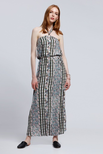 2Xtremz Printed Maxi Dress with Halter Neck
