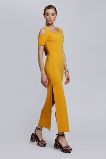 Cold Shoulder Maxi Dress with Side Slit