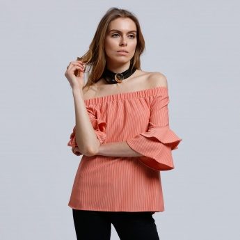 Striped Off Shoulder Top with Tier Sleeves