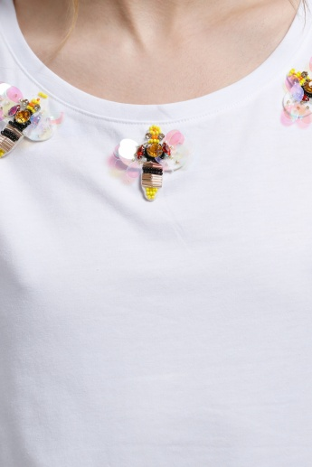 2Xtremz Embellished Bug T-Shirt with Round Neck and Short Sleeves
