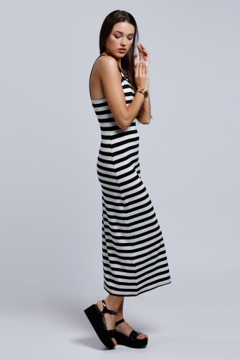 2Xtremz Stripes Maxi Dress with Round Neck
