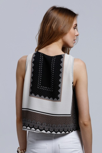 2Xtremz Printed Sleeveless Top with Pearl Embellishment and Round Neck