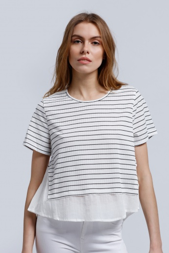 2Xtremz Striped Top with Round Neck and Short Sleeves