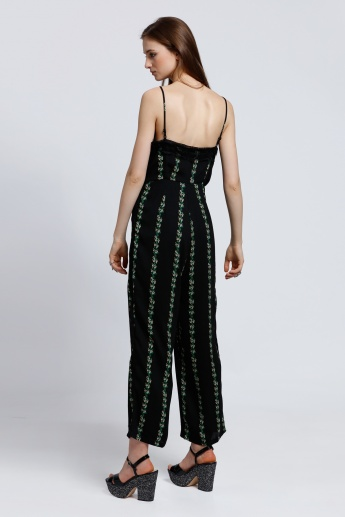 Printed Jumpsuit with Spaghetti Straps and Lace Detail