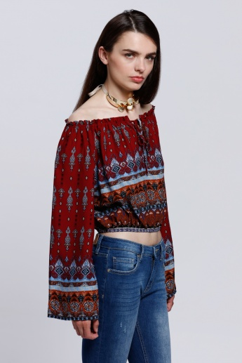 2Xtremz Paisley Printed Off Shoulder Top