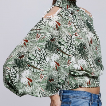 2Xtremz Print Off Shoulder Top with Turtle Neck