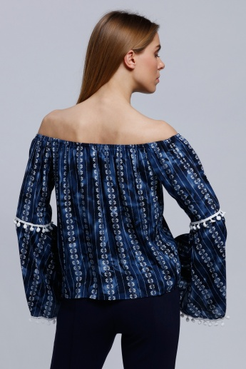 2Xtremz Printed Long Sleeves Off Shoulder Top