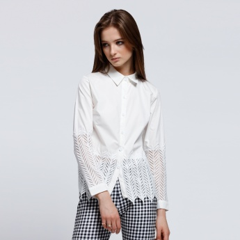Long Sleeves Shirt with Complete Placket and Lace Hem