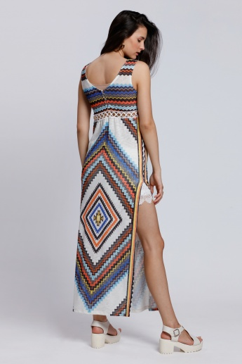 2Xtremz Aztec Print Maxi Dress with Side Slit