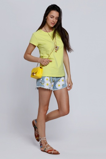 2Xtremz Daisy Floral Embroidered Denim Shorts with Button Closure